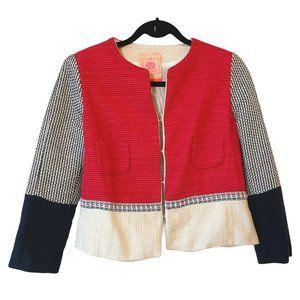 Vilagallo Blazer Jacket Color Block Tweed Size 10